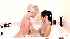 Angela and Celeste showing what taking a bubble bath with porn stars feels like