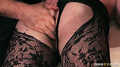 Tasty ginch in black, lacy pantyhose gets amazing ass massage