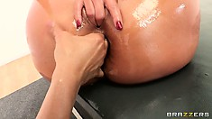 Big ass MILF Phoenix Marie gets her ass oiled and then drilled hard by cock