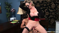 Eager to fulfill her sexual desires, the stacked brunette rides that big cock