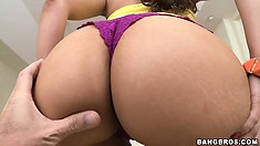 Chicana Eva goes for a ride and shows off her big booty and slit