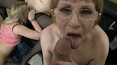 Granny lesbian gets nice, young babes and a cock as the others play