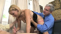 She sucked the son's cock while the dad ate her sweet, hot pussy