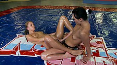 Alysa Gap and Ivana Sugar wrestling for the right to play the strap-on domme