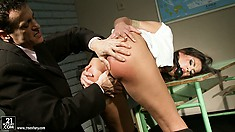 Horny teacher teaches this naughty brunette schoolgirl a lesson and gags her