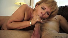 She rides him, blows him, gets fucked again and eats up his load