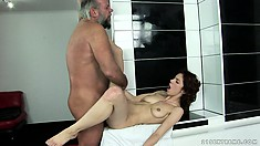 Brigitta has him drilling her snatch deep and welcomes his cum in her mouth