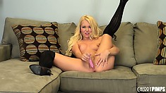 Aaliyah Love knows what her sweet snatch likes and her vibrating toy gets the job done