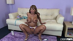Splendid dame with big pussy Ava Devine plays with big black toy