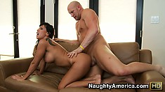 Lezley Zen gets her perfect ass fucked from behind on the couch