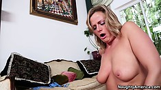 Becca Blossoms rides her friend's cock with her tits hanging in his face