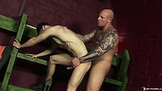He is unable to contain his sighs of pleasure as he gets fucked bareback style