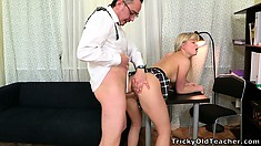 Candy bends over the desk to welcome that dick deep in her twat from behind