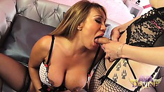 Shemale babe gets her cock blown by a lovely brunette cougar