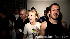 Two hot nymphos get their freak on in the middle of a college party