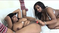 Chubby black lesbians with big curves make love to each other