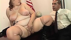 Huge blonde BBW tries to seduce Obama into giving her the BBC