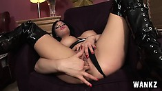 Gorgeous brunette freak Tory Lane fingers her flawless pussy