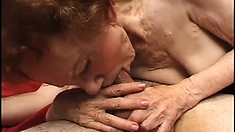 Skinny and ancient granny gets her cooch pounded by a young man