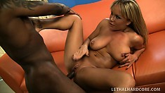 Heavenly blonde with big boobs and a fabulous ass Jessica Moore loves black cock