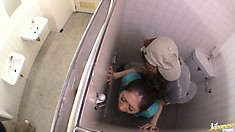 Naughty Asian cutie Miku Hasegawa gets nailed from behind in the public restroom