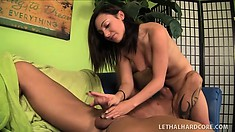 Marvelous young brunette Chloe Kush offers a horny older guy an awesome handjob