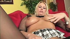 Cocksucking blonde rubs her huge tits and wet clit to make her lover horny
