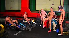 Speed Racer and his horny pit crew play hardcore gay games in the garage