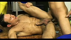 Athletic Guys in a gay orgy letting it all hang out banging asses