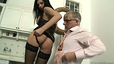 Old man with surprisingly hard boner fucks a hot brunette's ass