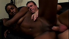 Dark skinned babe with a sexy slender body ride a white cock with great desire