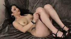 Sweet brunette model gives her pussy up to a black monster prick