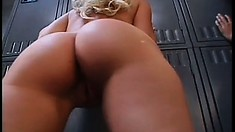 This lucky stud gets to drill two sexy cheerleaders' butts in the locker room