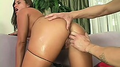 Curvy brunette housewife cheats on her man with a younger dude