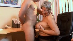 Sex addicted old lady Francsina needs her loose cunt filled up