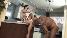 Filthy chick plays around with whipped cream in a freaky scene