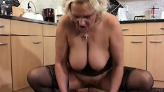 Mature, busty porker Kara gets a young prick to suck and bang her twat