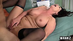 Insatiable brunette milf with big tits seduces and fucks a young stud