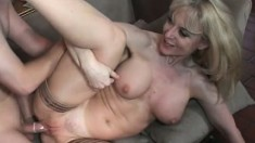Stockinged MILF Nina Hartley filmed doing it the genuine porn way