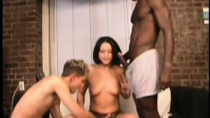 Dirty babe Erin wants some white and black meat to satiate her desires