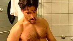 Now that their balls are squeaky clean, these hunks have sex in the shower