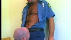 Dirty policemen Rob and Tony get nasty with some sexy oral service