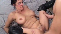 Dirty MILF Candy Vegas is eager and willing to ride hard pole