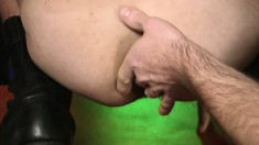 Three male strippers get horny and start plugging each other's buttholes