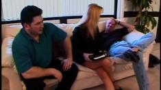 Stacked blonde milf Belinda has three horny guys fulfilling her needs