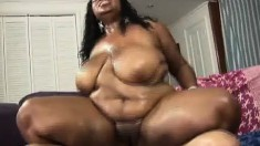 Chubby ebony girl displays her body before getting her pussy banged hard and creampied