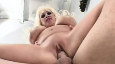Huge tit pornstar gobbles up his meat and gets fucked with tits swaying