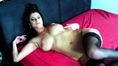 Maike does a nice striptease to show it all off and does a little rubbing