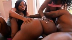 Naughty ebony bi-girls get into a trio to please each other and one guy