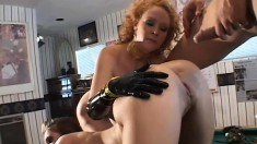Brunette and redheaded sluts get analized with dildos and dicks